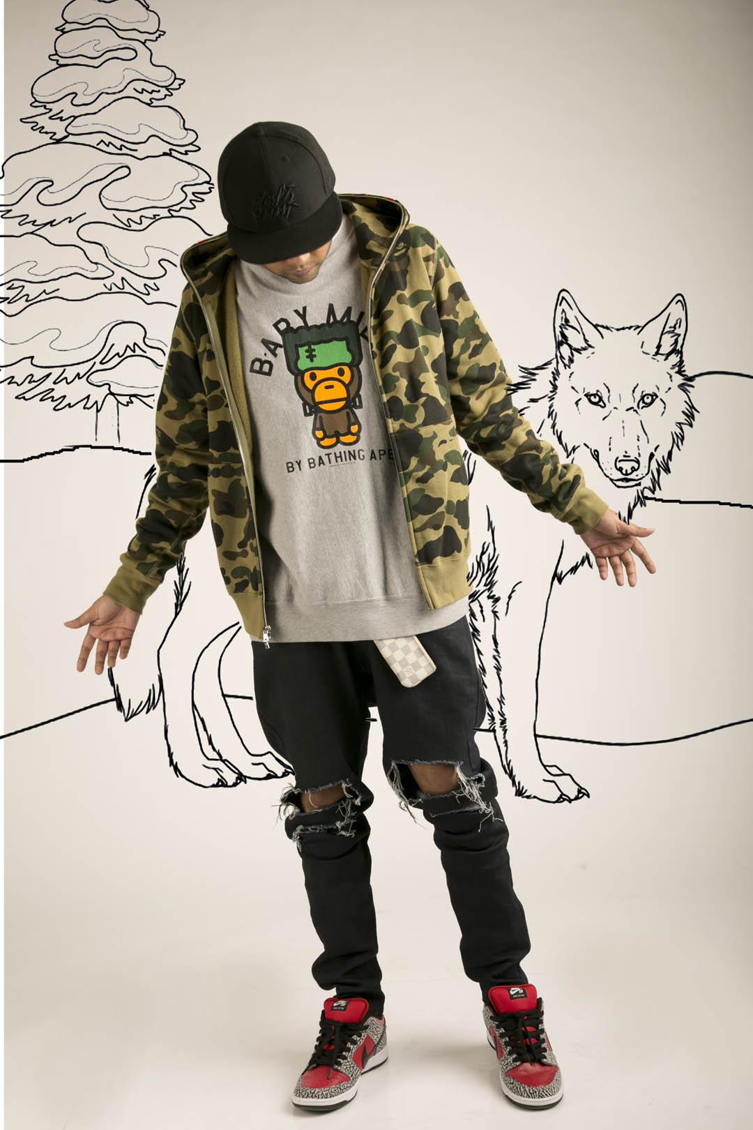 Sweatshirt, Babe; Jeans, Unconditional; Shoes, Nike; Cap, New Era 'Daft Punk'; Key pouch, Louis Vuitton
